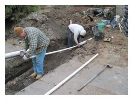 Putting Pipe in Trench